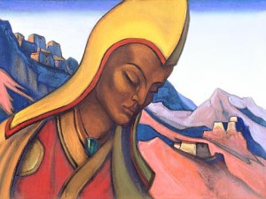 Nicholas Röerich. Young Lama (1945). Tempera on canvas. 47 x 64  cm. State Museum of Oriental Art, Moscow. Молодой лама.